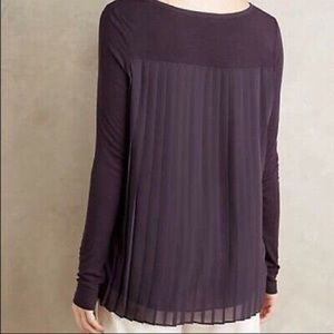 Anthropologie Pleated Back Long Sleeve Blouse